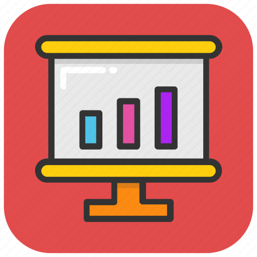analytics, graph, line chart, presentation, projection icon