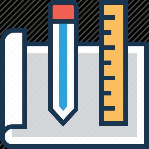 blueprint, design, draft, ruler, scale icon