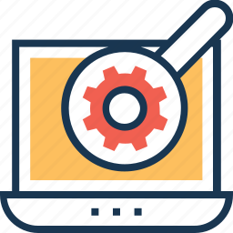 laptop, magnifier, optimization, search, web icon