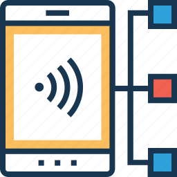 data share, interface, mobile, share, signals icon