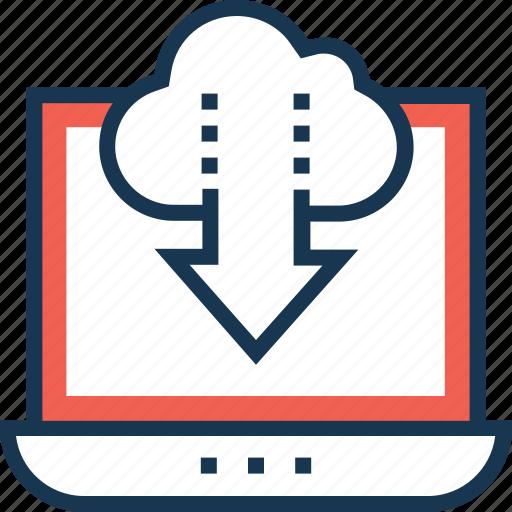 cloud, cloud computing, cloud storage, download, laptop icon