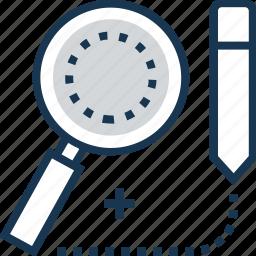 add, draw, magnifier, pencil, research icon