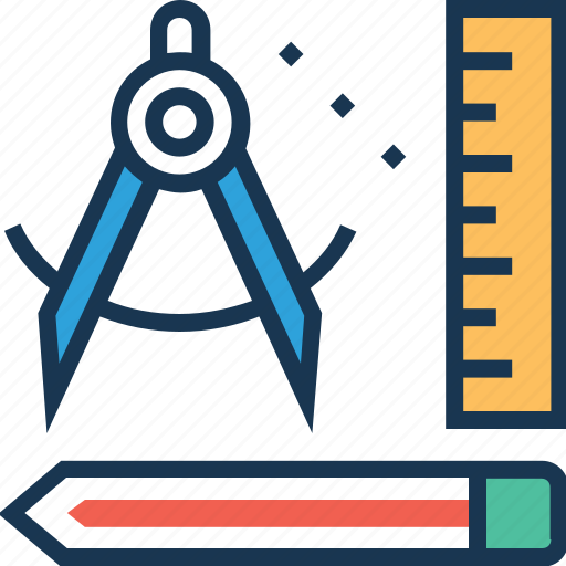 draft, geometry, pencil, ruler, scale icon