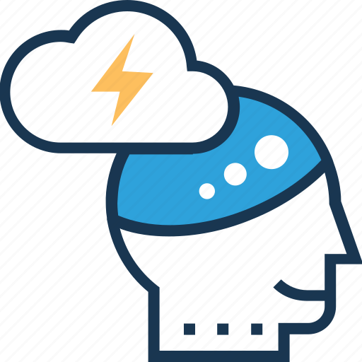 brain, brainstorming, cloud, cloud computing, thunder icon
