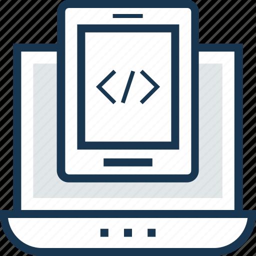 adaptive coding, app development, coding, programming, web development icon