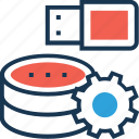 cogwheel, data, data processing, processing, usb icon