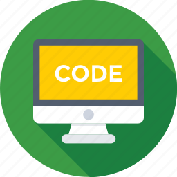 code, development, monitor, online, script icon