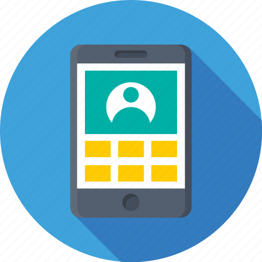 apps, contact, login, mobile, sign in icon