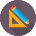 architect, drafting, drawing, pencil, set square icon