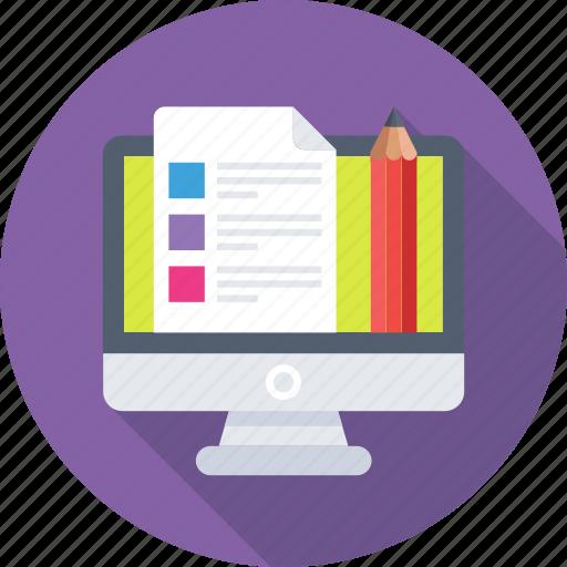 checklist, monitor, order, pencil, task icon