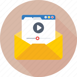 envelope, newsletter, subscribe, video, video marketing icon
