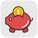 cash, money, penny bank, piggy bank, saving icon