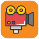 movie, movie camera, video, video production, video recording icon