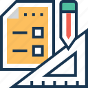 blueprint, design, geometry, plan, tools icon