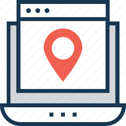 location, map pin, navigation, online location icon