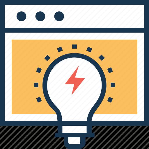 bulb, concept, idea, seo, web icon