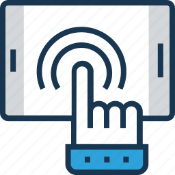 click, cursor, hand, hand gesture, touch icon