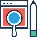 magnifier, pencil, search, testing, web icon