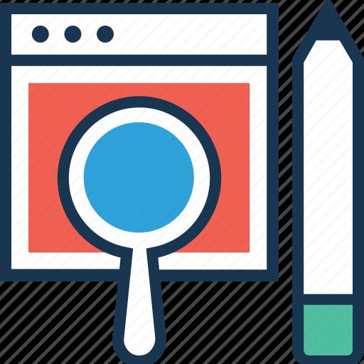 magnifier, pencil, search, testing, web icon