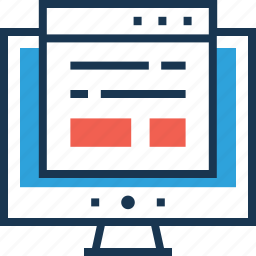 analytics, article, landing page, web content, wireframe icon