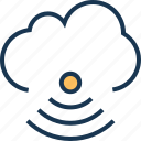 cloud computing, connection, internet, signals, waves icon