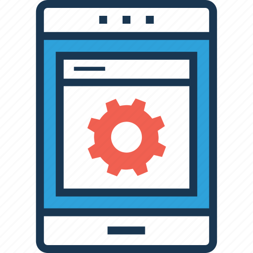 app development, cogwheel, development, mobile, mobile ui icon