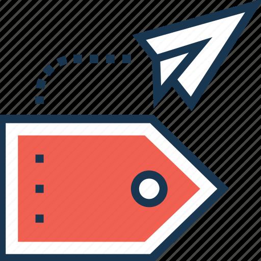 brand, brand develop, launch, paper plane, tag icon
