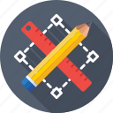 designing, pencil, photoshop, ruler, select tool icon