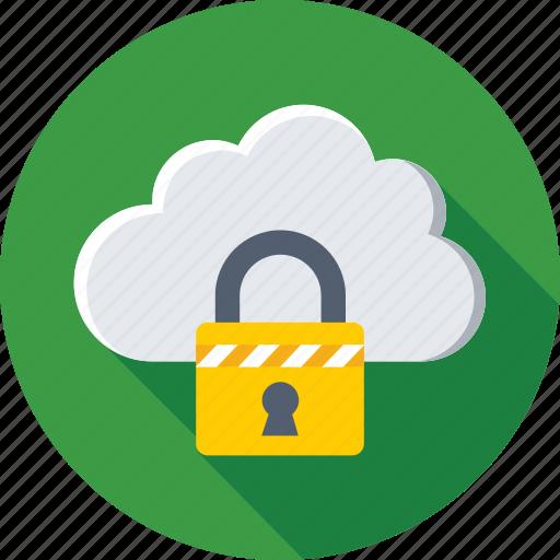 cloud, cloud computing, cloud security, lock, storage icon