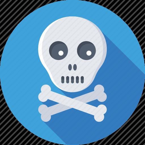 be aware, bones, danger, skull, toxic icon
