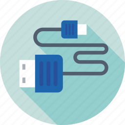cord, data cable, usb cable, usb jack, usb plug icon