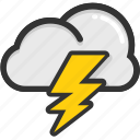 cloud thunder, electrical storm, forecast, lightning storm, weather icon