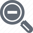 magnifier, minimize, search glass, searching tool, zoom out icon