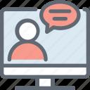 chat bubble, comment, laptop, online chatting, speech bubble icon