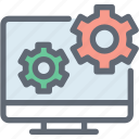 cog, lcd, monitor configuration, monitor settings, web development icon