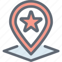favorite location, favorite place, location pinned, location pointed, map pin icon