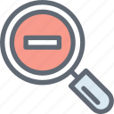 magnifier, minimize, search glass, searching tool, zoom out