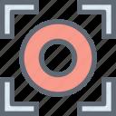 camera focus, dashed circle, focus selector, focus tool, graphic designing icon