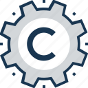 cogwheel, copyright, preferences, software, web copyright icon