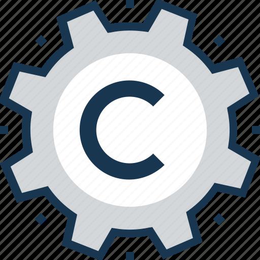 cogwheel, copyright, preferences, software, web copyright icon