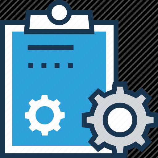clipboard, cogwheel, creative, creative brief, preferences icon