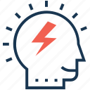 brain, brainstorming, creative mind, efficiency, thunder icon