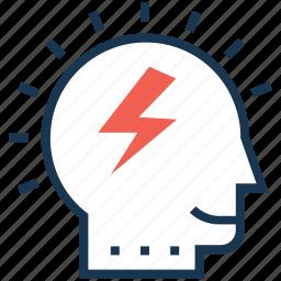 brain, brainstorming, creative mind, efficiency, thunder icon