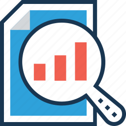analysis, analytics, bar graph, business, chart, magnifier, report, search, search graph, seo, statistics icon