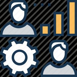 bar graph, employee, management, social network, teamwork icon