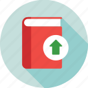 arrow, book, ebook, education, upload icon