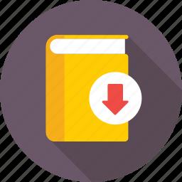 arrow, book, download, ebook, education icon
