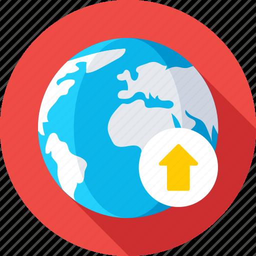 globe, internet, online, uploading, web icon