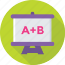 alphabets, classroom, presentation, school, whiteboard icon
