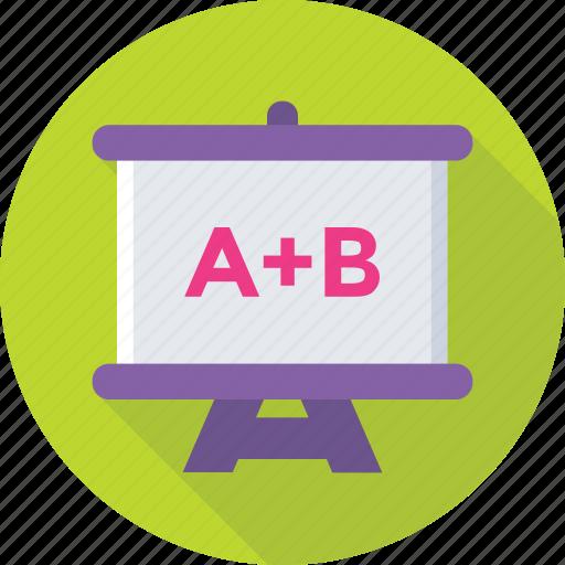 alphabets, classroom, presentation, school, whiteboard icon